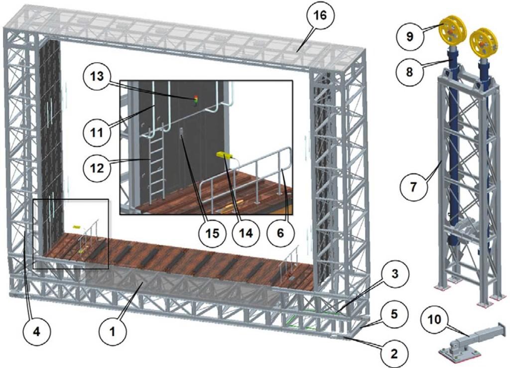 Рис.13. Задняя грузовая площадка: 1— система погрузки/разгрузки; 2— стопоры сприводом; 3— тросовое соединение; 4— направляющая цилиндра; 5— направляющая площадки; 6— предохранительные перила; 7— рама гидроцилиндров; 8— гидроцилиндр; 9— направляющий ролик для троса; 10— опора для техобслуживания; 11— поручни; 12— боковая лестница; 13— индикатор готовности системы погрузки/разгрузки; 14— пульт обслуживания системы погрузки/разгрузки; 15— пульт включения системы погрузки/разгрузки; 16— настил из колосниковых решеток