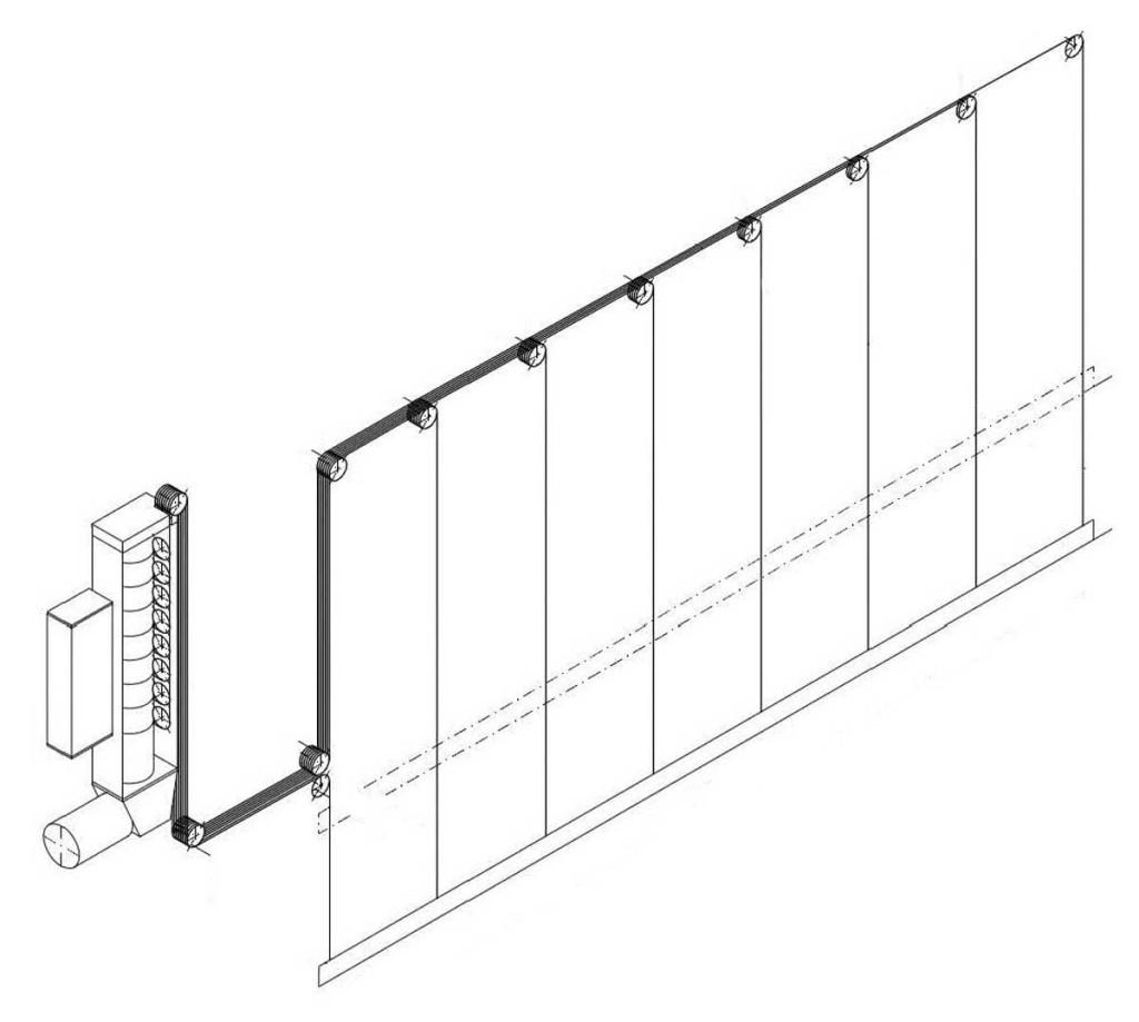Рис. 3. Кинематическая схема штанкетного подъема Основной сцены