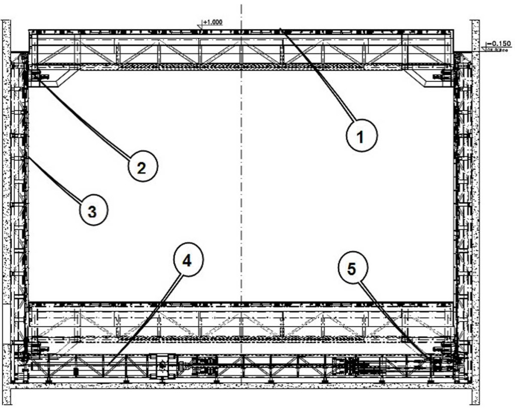 Рис. 12. Передняя грузовая площадка: 1— платформа;   2— стопор сприводом;   3— несущие инаправляющие шины;   4—приводная рама сглавным гидроцилиндром;  5— выравнивающие цилиндры